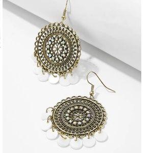 Jewelry - JORDYN Disc Detail Gold, White, Rhinestone…